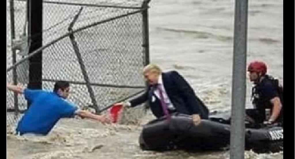 Ảnh chế Tổng thống Trump 'đích thân cứu nạn nhân lũ lụt' gây bão mạng Ảnh 1