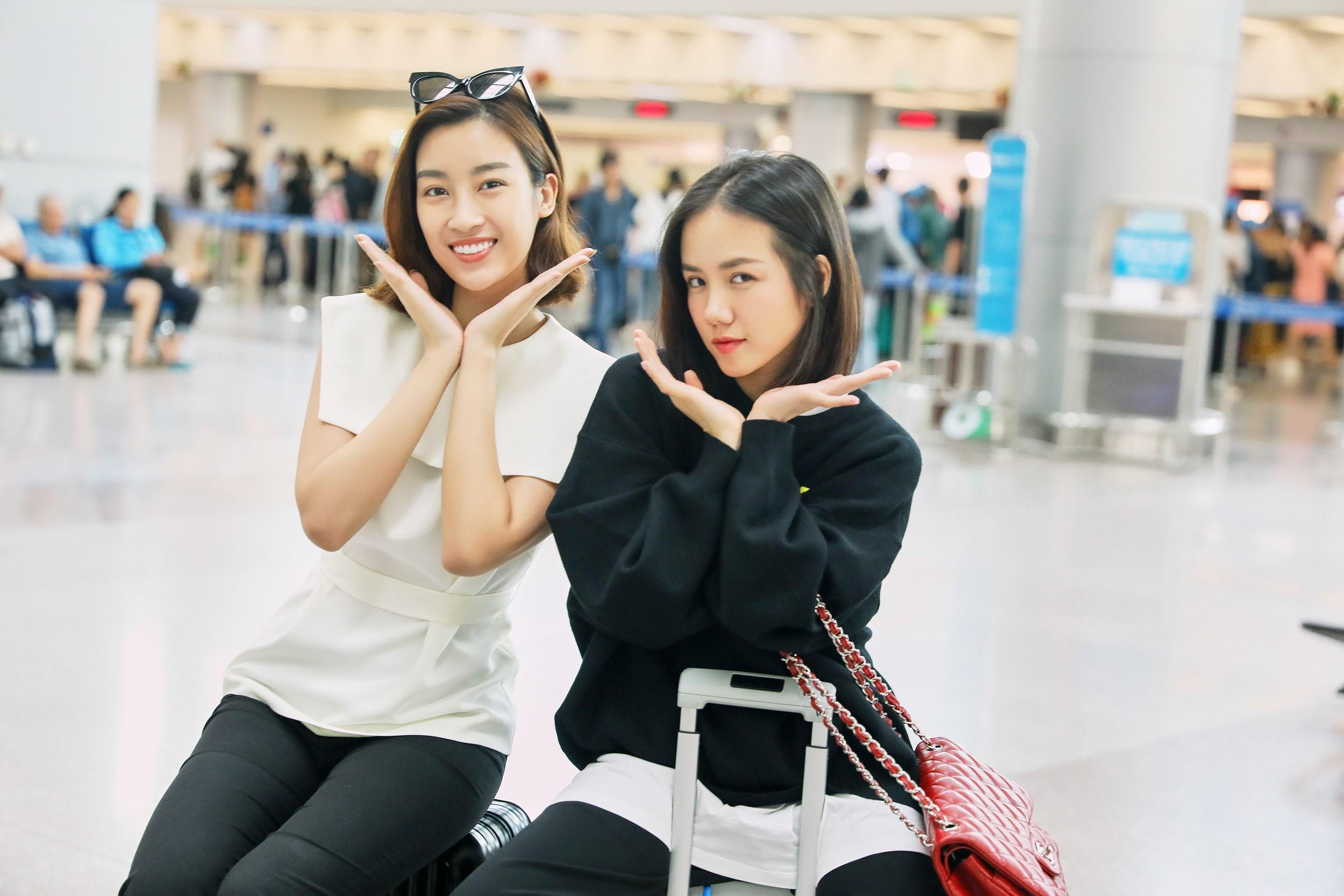 Hoa hậu Đỗ Mỹ Linh và Phương Ly đọ mặt mộc xinh đẹp tại sân bay Ảnh 14