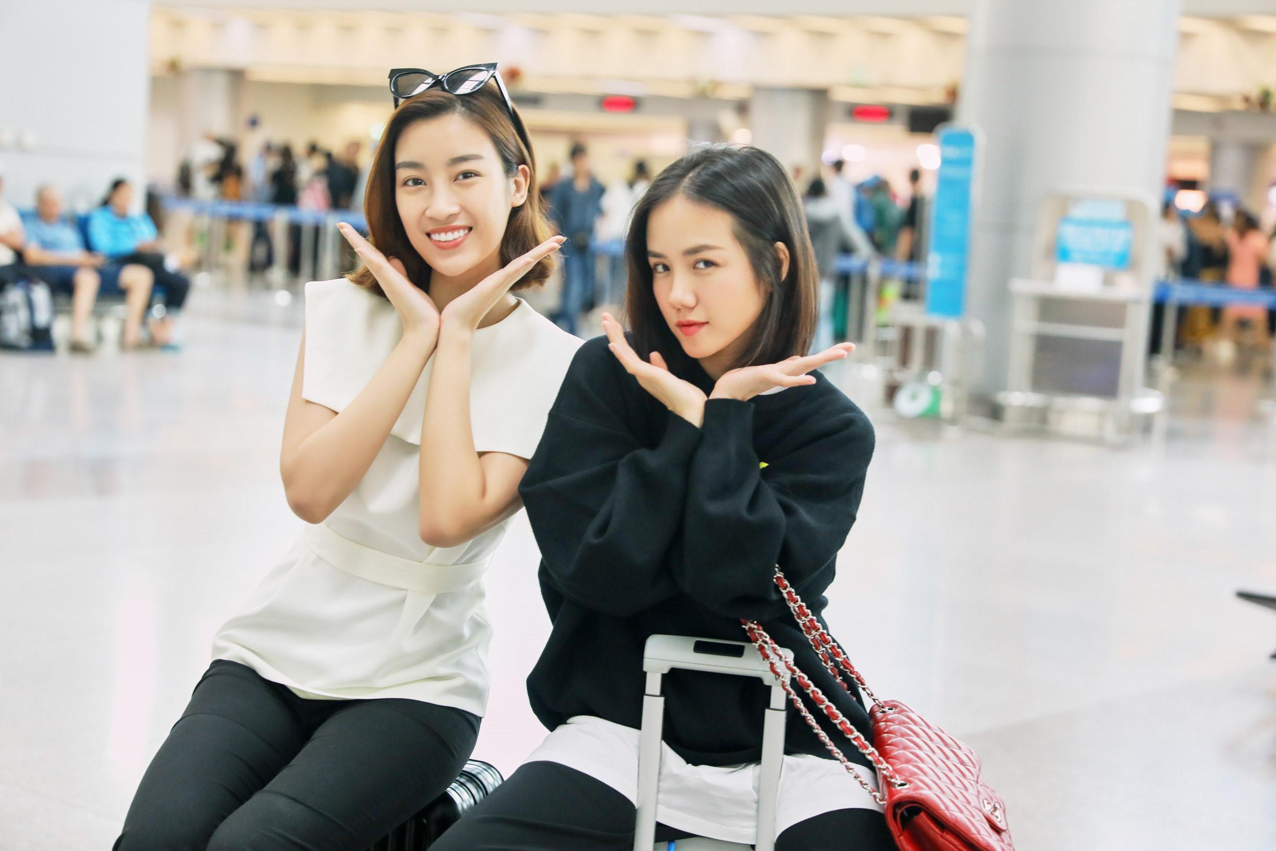 Đỗ Mỹ Linh, Phương Ly năng động ở sân bay sang Hàn Quốc Ảnh 1