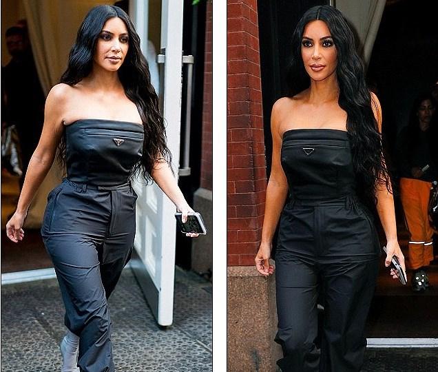 Kim Kardashian quyến rũ xuống phố với jumpsuit cúp ngực gợi cảm Ảnh 2