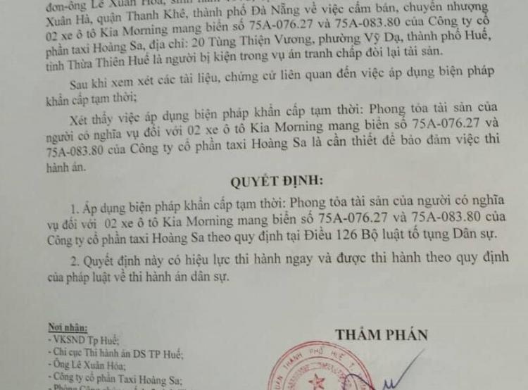 Xứ Huế ngăn chặn khẩn cấp xe taxi Hoàng Sa để xử lý đơn kiện Ảnh 1
