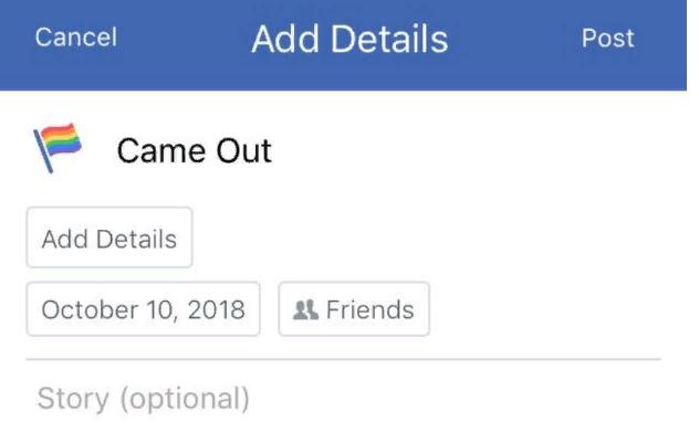 Facebook bổ sung 'công khai LGBT' vào những sự kiện quan trọng trong đời Ảnh 1