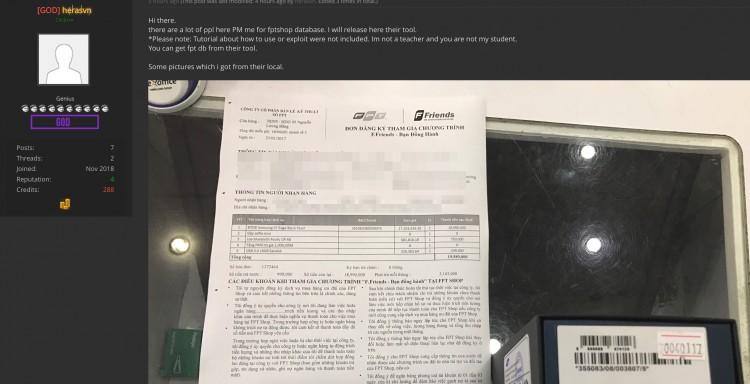 Đến lượt FPT Shop bị hacker phát tán dữ liệu khách hàng Ảnh 1