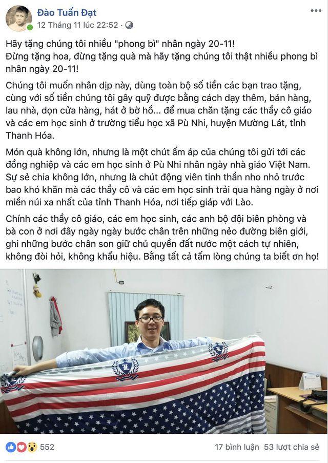Thầy Hiệu trưởng ở Hà Nội kêu gọi 'hãy tặng chúng tôi nhiều phong bì' ngày 20/11 và câu chuyện ý nghĩa sau đó Ảnh 1