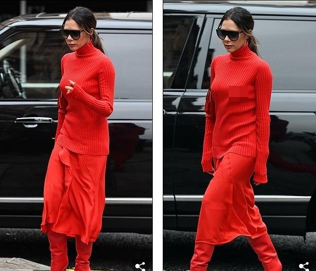 Victoria Beckham dịu dàng xuống phố với set đồ đỏ rực kín đáo Ảnh 4