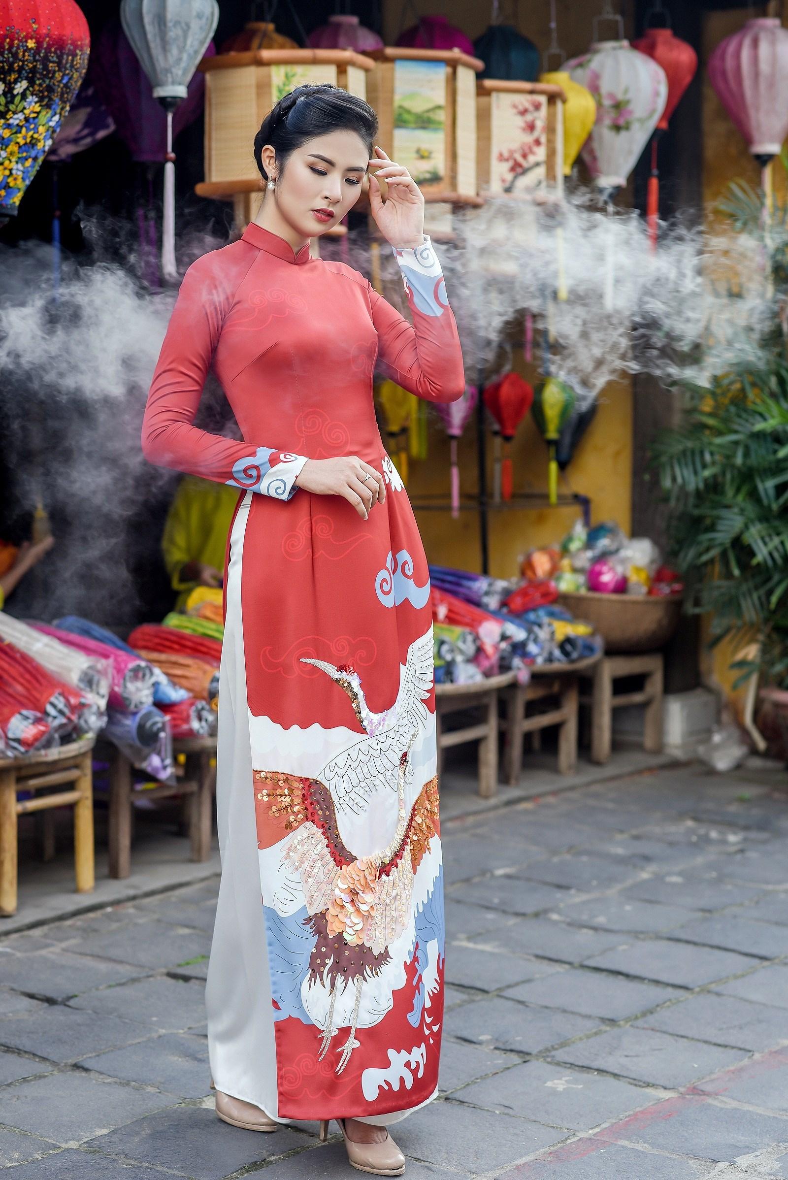Hoa hậu Ngọc Hân thiết kế áo dài lấy cảm hứng từ cuộc đời Đức Phật Thích Ca Ảnh 6
