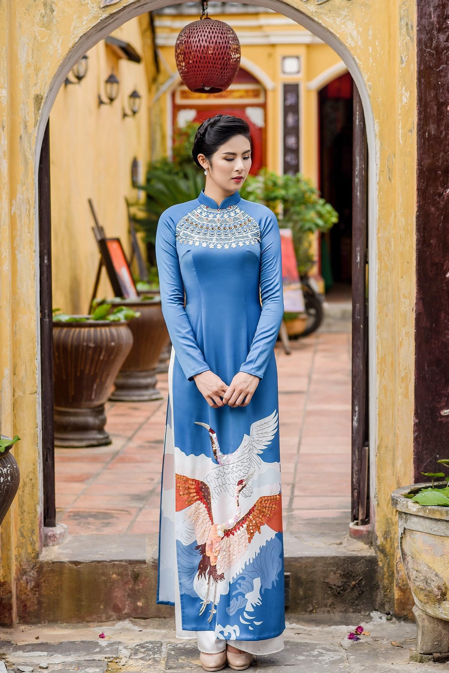 Hoa hậu Ngọc Hân thiết kế áo dài lấy cảm hứng từ cuộc đời Đức Phật Thích Ca Ảnh 8