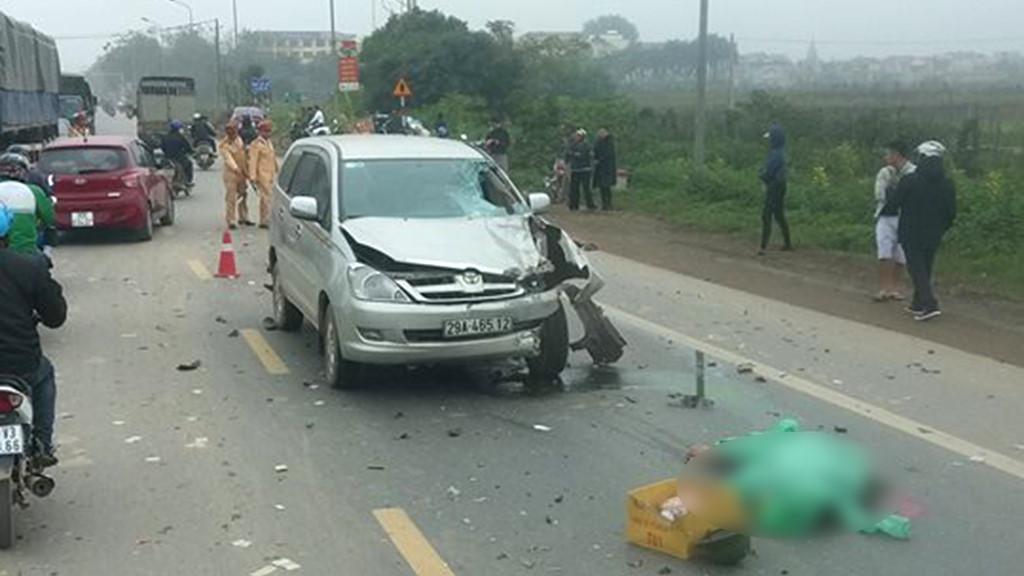 Ô tô 7 chỗ lấn làn đâm trực diện xe máy, 2 người tử vong tại chỗ Ảnh 1