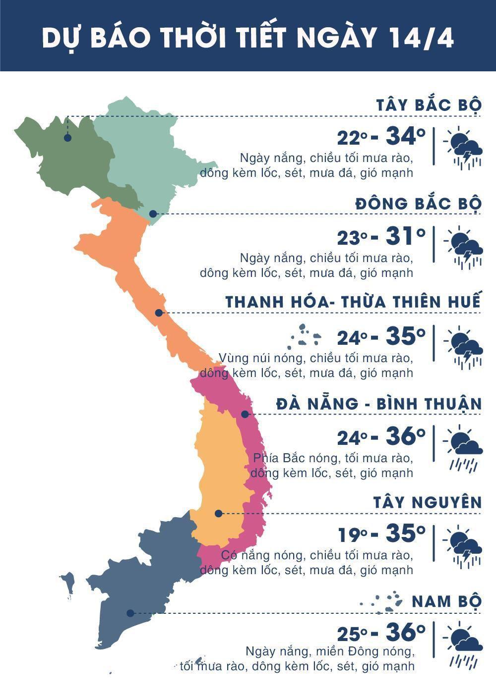 Thời tiết ngày 14/4: Việt Trì mưa rào rải rác trong ngày giỗ Tổ Ảnh 1