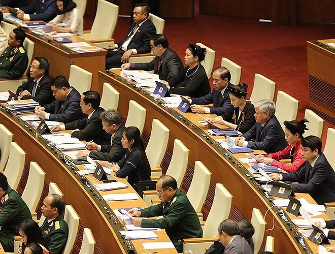 Đại biểu Quốc hội tra cứu tài liệu qua máy tính bảng Ảnh 9