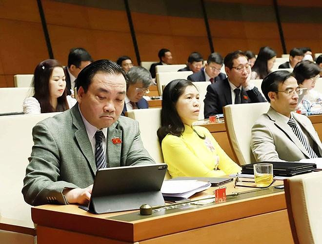 Đại biểu Quốc hội tra cứu tài liệu qua máy tính bảng Ảnh 6