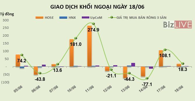 Phiên 18/6: Khối ngoại trở lại mua ròng gần 1 triệu cổ phiếu, HPG hồi phục mạnh Ảnh 1