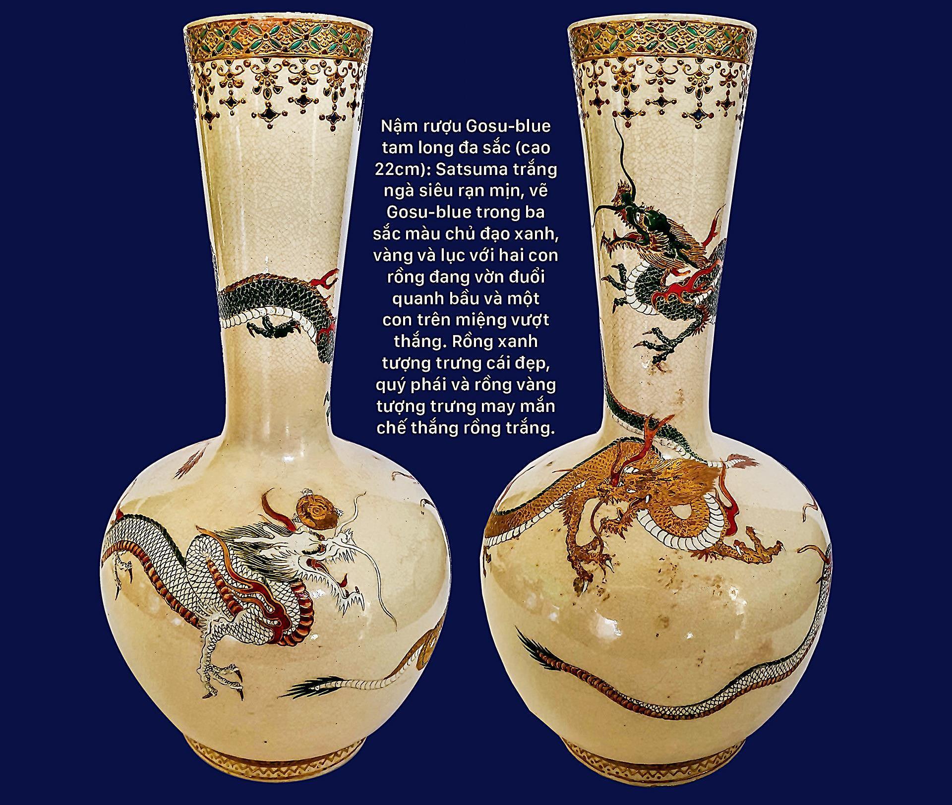 Hình tượng rồng trên bình rượu Sake Satsuma Ảnh 6