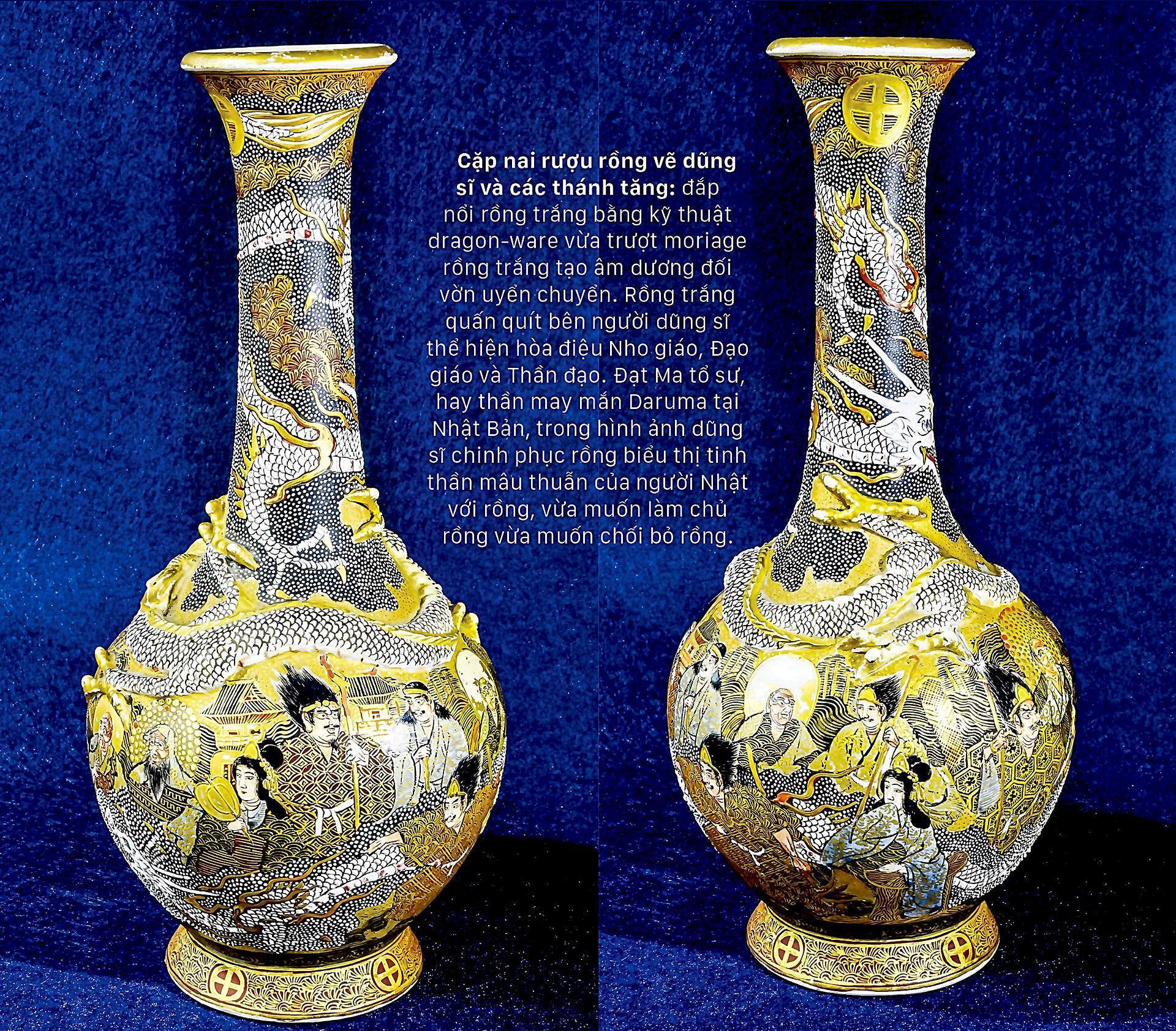 Hình tượng rồng trên bình rượu Sake Satsuma Ảnh 7