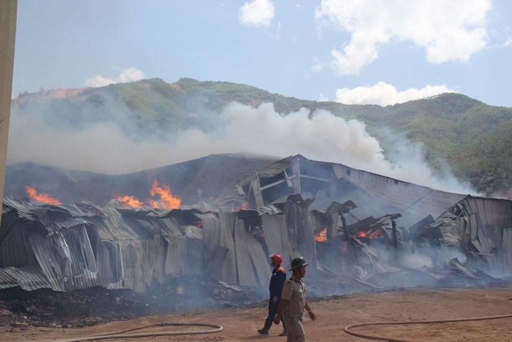 Cháy dữ dội cả dãy nhà xưởng toàn củi và gỗ dăm ở Quy Nhơn Ảnh 1