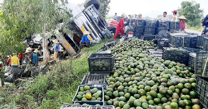 Thấy xe tải chở cam lật, hàng chục người dân giúp tài xế thu gom Ảnh 1
