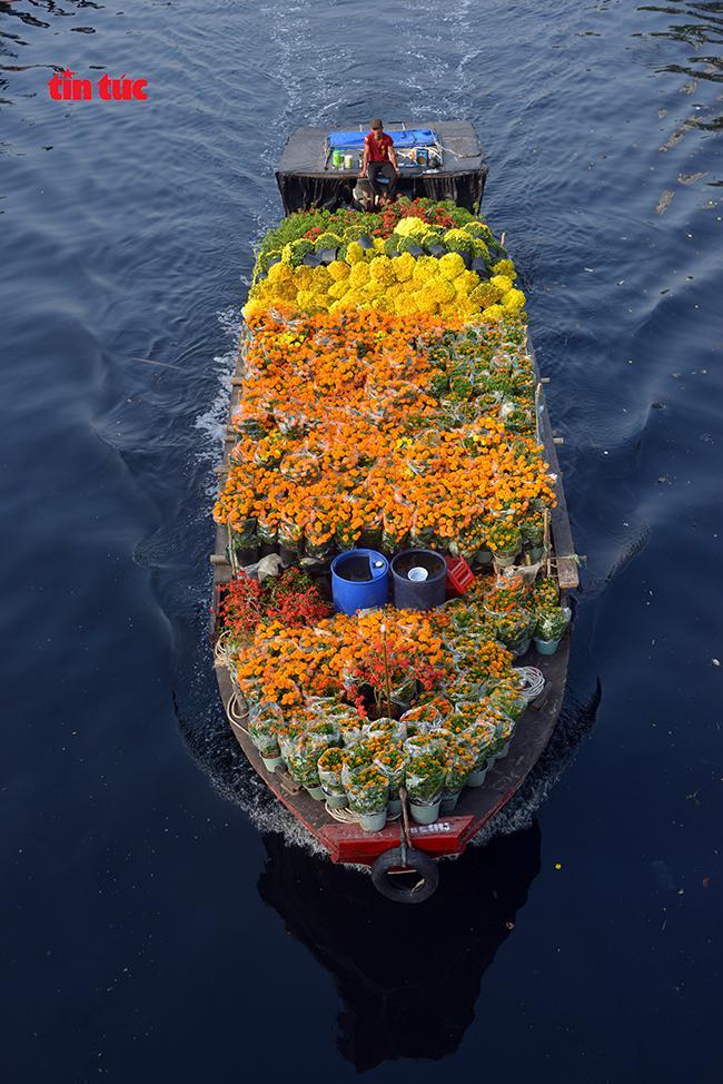 Nhộn nhịp chợ hoa Tết 'trên bến dưới thuyền' đầy sắc màu ở TP Hồ Chí Minh Ảnh 2