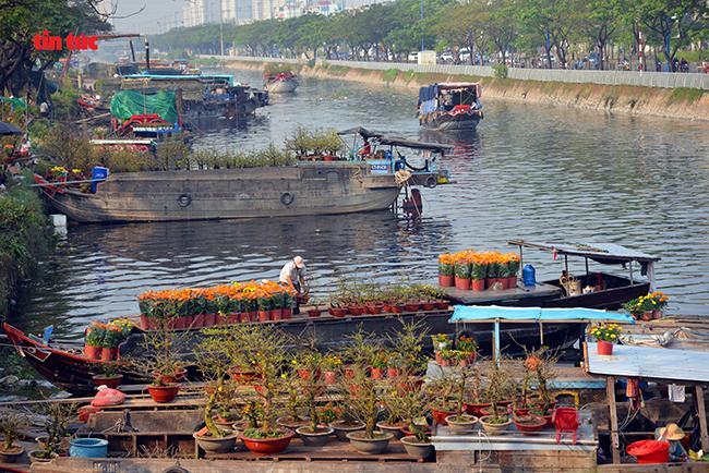 Nhộn nhịp chợ hoa Tết 'trên bến dưới thuyền' đầy sắc màu ở TP Hồ Chí Minh Ảnh 3