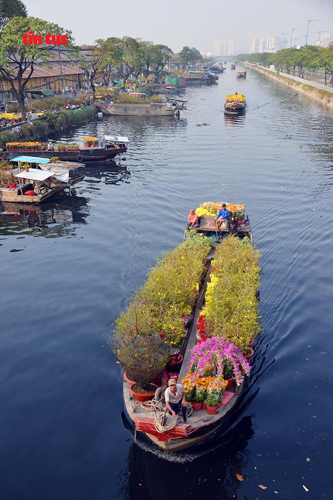 Nhộn nhịp chợ hoa Tết 'trên bến dưới thuyền' đầy sắc màu ở TP Hồ Chí Minh Ảnh 5