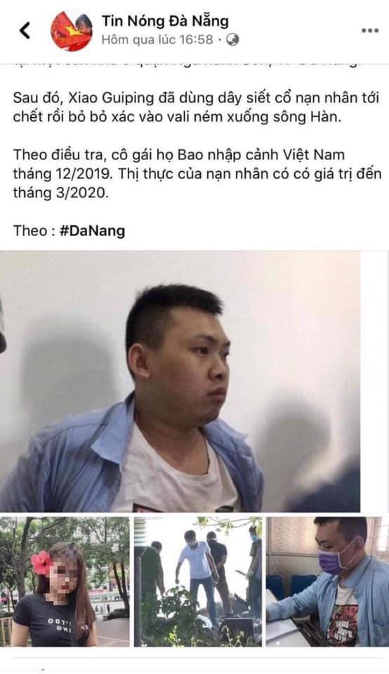 Fanpage tung tin sai sự thật về vụ án người Trung Quốc sát hại đồng hương tại Đà Nẵng bị xử lý Ảnh 2