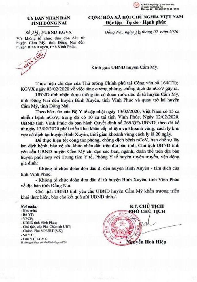 Một đám cưới ở Đồng Nai không tổ chức ra Vĩnh Phúc đón dâu để phòng chống dịch Ảnh 1