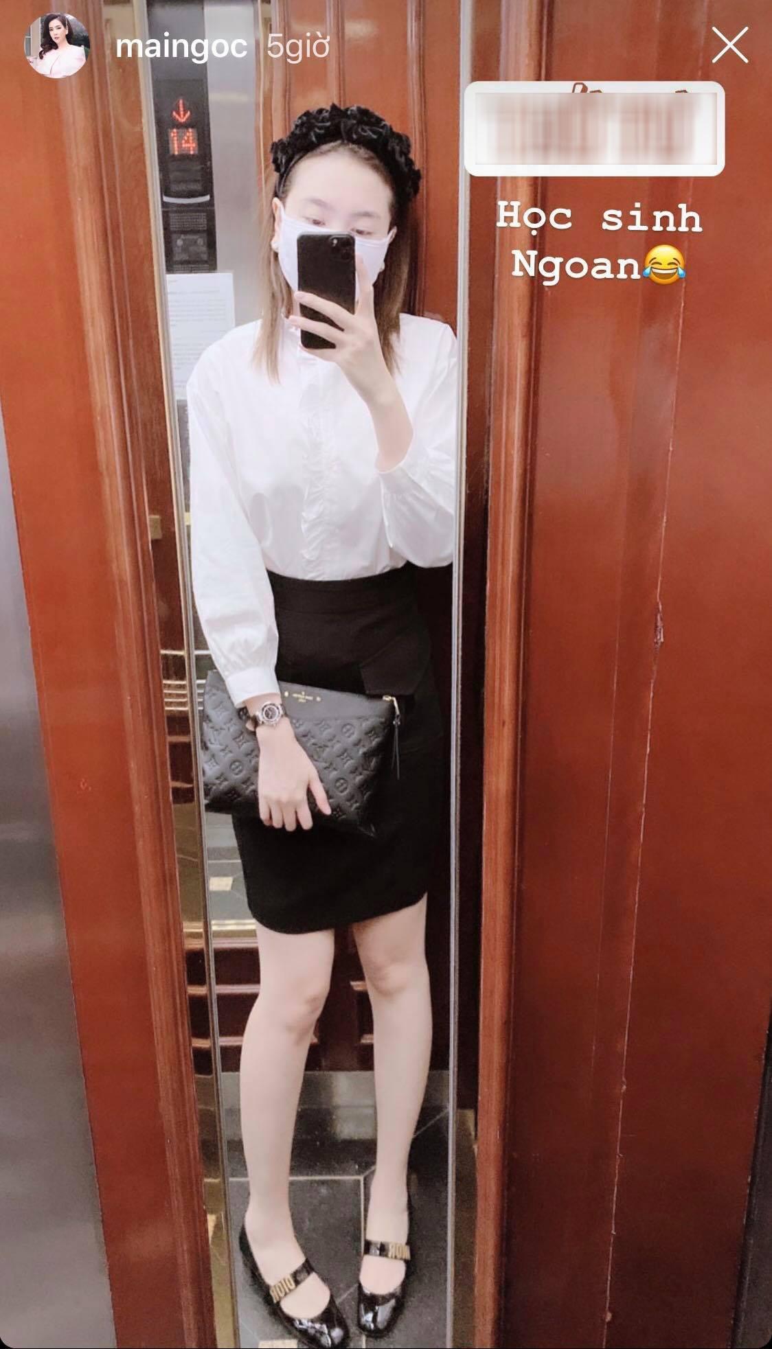 Mai Ngọc 'cosplay' học sinh, diện áo trắng váy đen nhưng lại chưng phụ kiện hàng hiệu đắt giá đủ khiến chị em trầm trồ Ảnh 4
