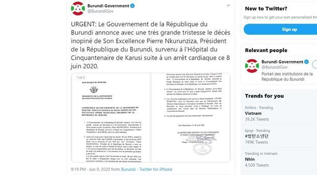 Tổng thống Burundi Pierre Nkurunziza qua đời do đột quỵ ở tuổi 56 Ảnh 1