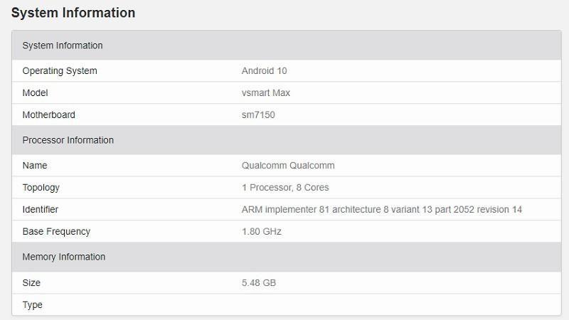Vsmart Max bản 'không Pro' lộ diện trên Geekbench với chip Snapdragon 730 Ảnh 3