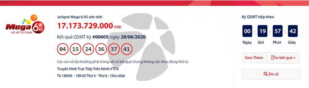 Kết quả xổ số Vietlott Mega 6/45 tối ngày 1/7/2020: Chưa xác định ai trúng hơn 17 tỉ đồng? Ảnh 1