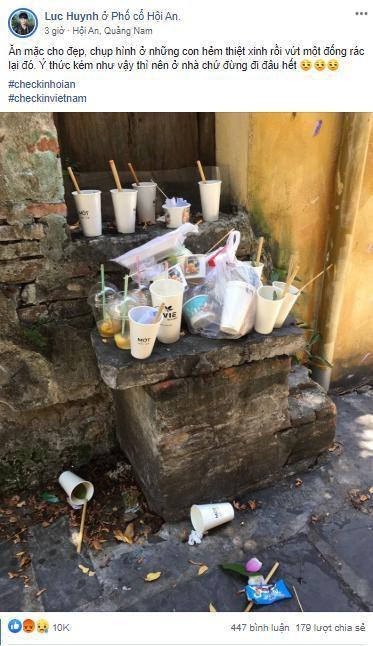Vỏ ly, chai nhựa vứt bừa bãi tại điểm check-in nổi tiếng Hội An