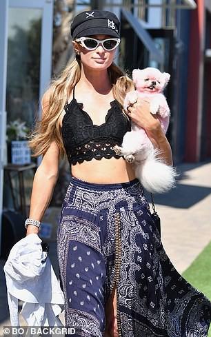 'Cô đào' Paris Hilton mặc bra nóng bỏng, ôm thú cưng ra phố ở Malibu Ảnh 2