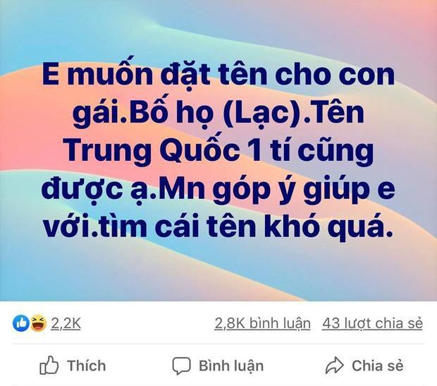 Lên Facebook xin tư vấn đặt tên con gái họ Lạc, mẹ trẻ nhận hơn 3.000 đáp án 'gắt' không thể đỡ Ảnh 1