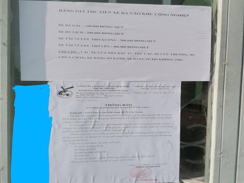 Yêu cầu dừng ngay việc thu phí xe ở KCN Cầu Tràm Ảnh 2