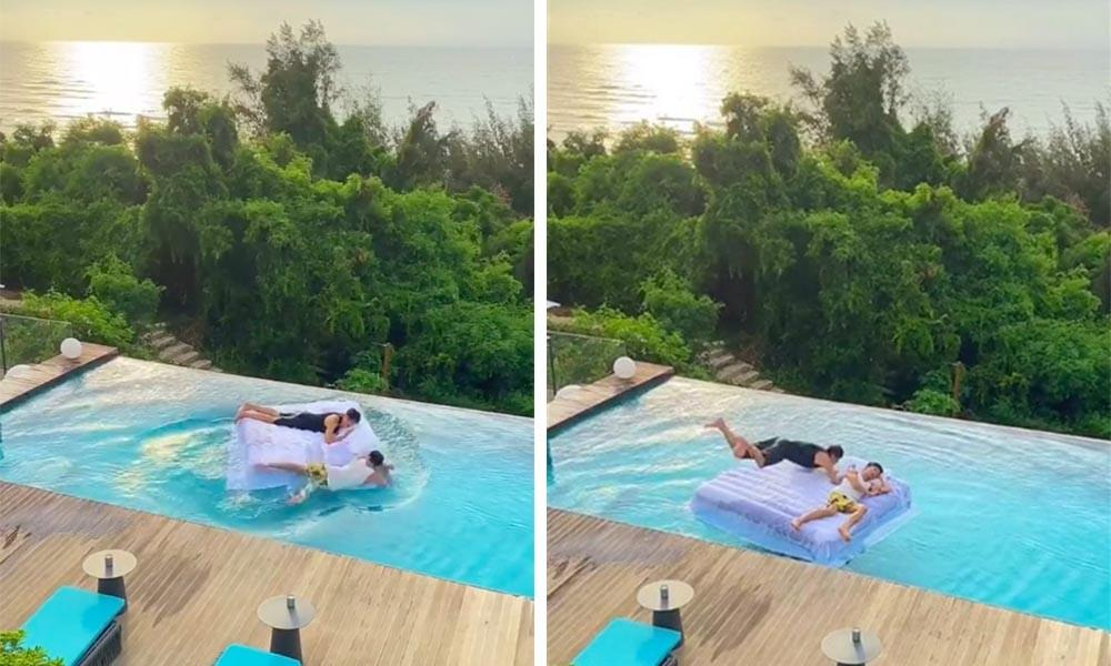 Clip: Mải mê sống ảo bên bể bơi vô cực, hai du khách suýt trả giá đắt Ảnh 1