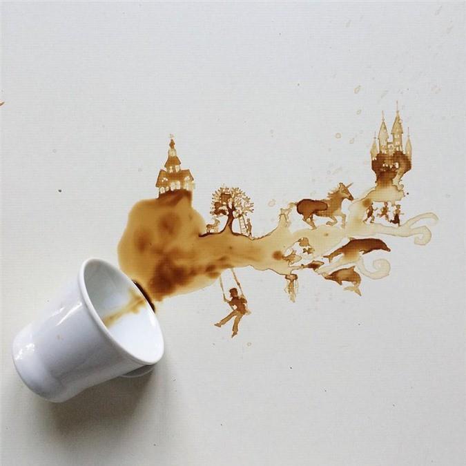 Không thể tin tác phẩm tuyệt đẹp này được vẽ từ trà, cafe đổ Ảnh 11