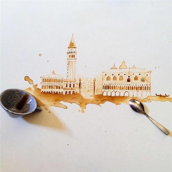 Không thể tin tác phẩm tuyệt đẹp này được vẽ từ trà, cafe đổ Ảnh 16