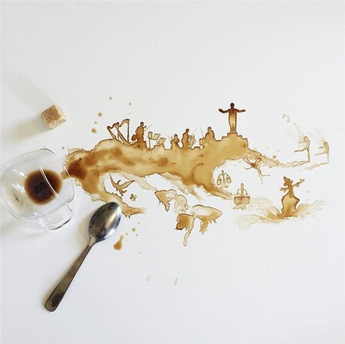 Không thể tin tác phẩm tuyệt đẹp này được vẽ từ trà, cafe đổ Ảnh 8