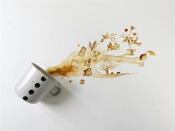 Không thể tin tác phẩm tuyệt đẹp này được vẽ từ trà, cafe đổ Ảnh 14