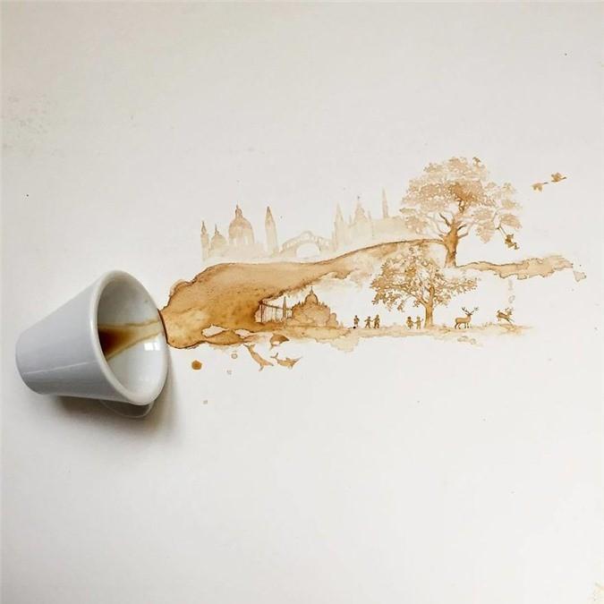 Không thể tin tác phẩm tuyệt đẹp này được vẽ từ trà, cafe đổ Ảnh 2