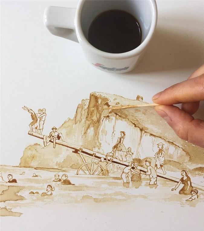 Không thể tin tác phẩm tuyệt đẹp này được vẽ từ trà, cafe đổ Ảnh 3