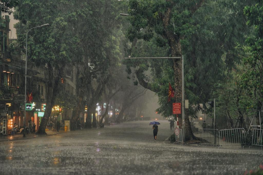 Bức tranh Hà Nội dưới cơn mưa vội ngày cuối tuần Ảnh 1