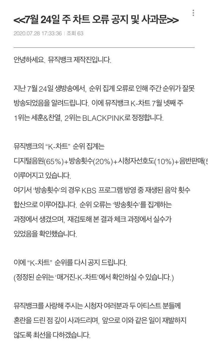Nhà đài KBS đính chính kết quả Music Bank 24/7: EXO-SC mới là người chiến thắng, fan BlackPink đồng loạt phẫn nộ Ảnh 1