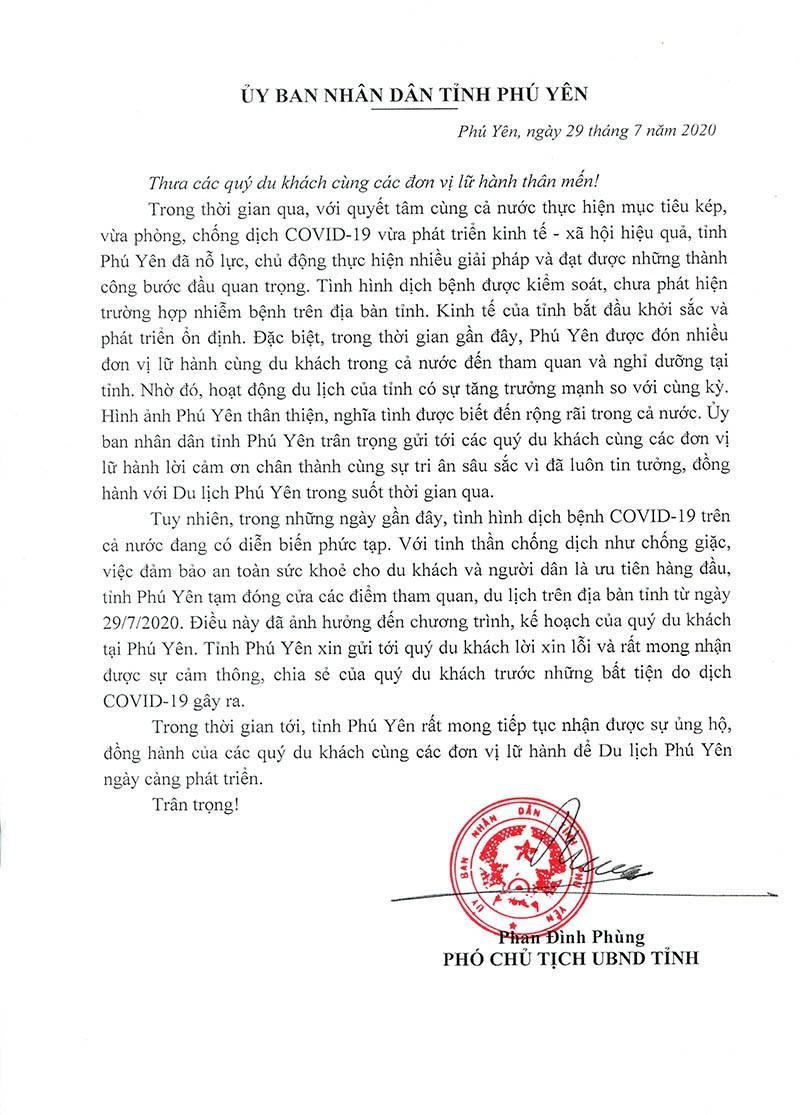 UBND tỉnh Phú Yên xin lỗi du khách vì dịch COVID-19 Ảnh 2