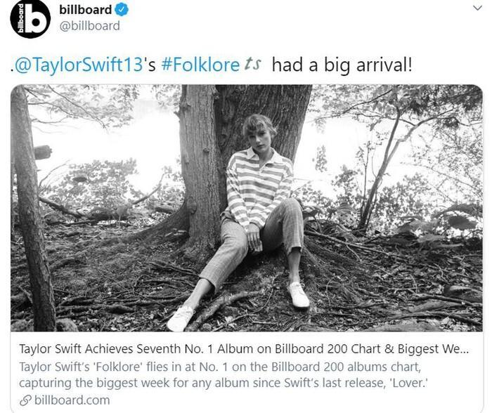 Folklore debut #1 Billboard Hot 200, Taylor Swift chính thức vượt mặt Beyonce và thiết lập nên kỷ lục 'vô tiền khoáng hậu' Ảnh 1