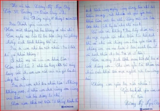 Rơi nước mắt lá thư viết tay cô bé lớp 3 gửi cha nơi tuyến đầu chống dịch Ảnh 1