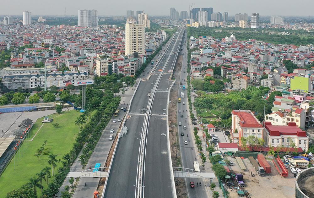 Toàn cảnh cầu cạn đoạn Mai Dịch - Nam Thăng Long trước ngày thông xe Ảnh 1