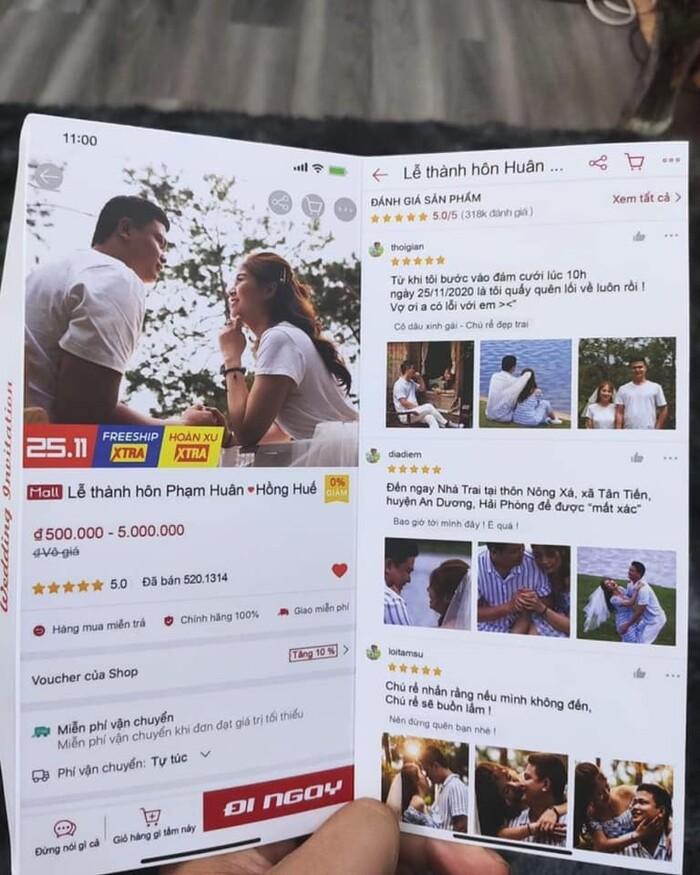 Cặp đôi gửi thiệp mời đám cưới theo giao diện Shopee, dân mạng rần rần nhắc quan khách 'đợi flash sale' Ảnh 1