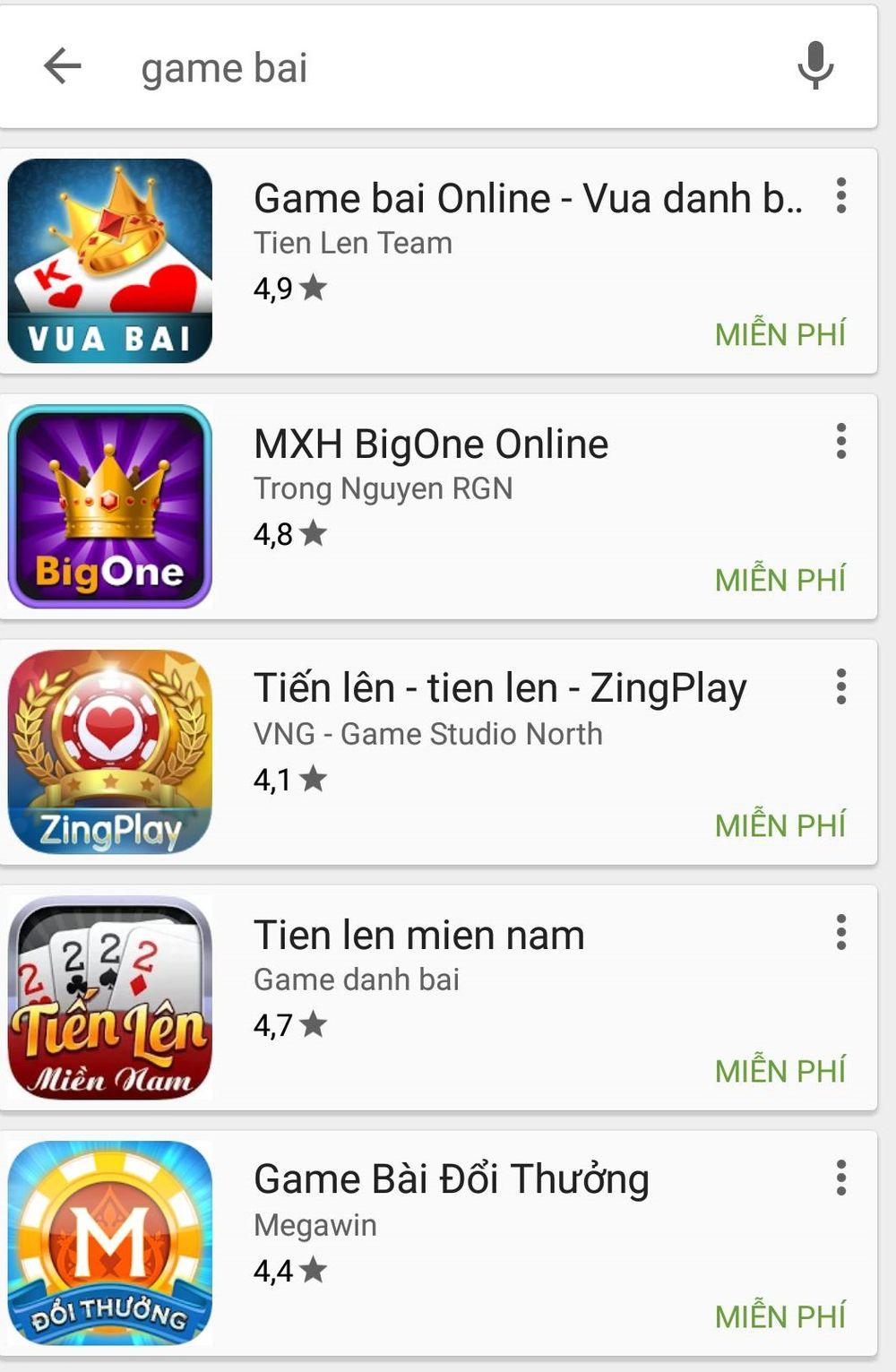 Các ứng dụng game bài trên kho ứng dụng Google Play.