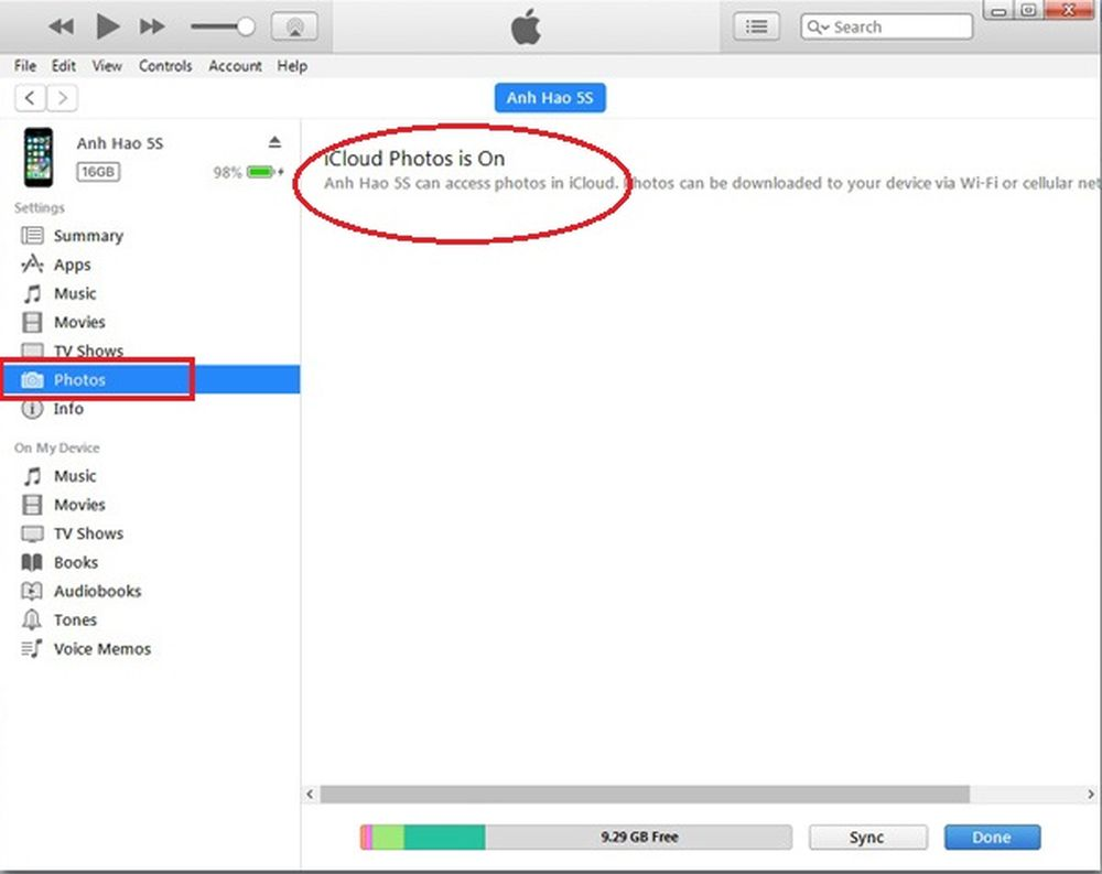 Hướng dẫn copy ảnh vào iPhone bằng iTunes: Khi chúng ta vào mục Photos, nếu thấy thông báo chế độ đồng bộ ảnh lên iCloud đang bật thì chúng ta có thể ...