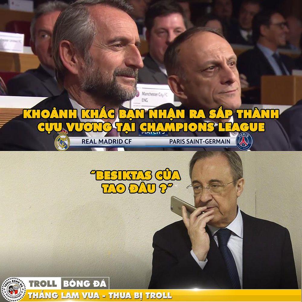 Tâm trạng của BLĐ Real Madrid sau lễ bốc thăm tối qua. (Ảnh: Troll Bóng Đá)